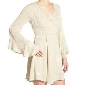 NWT Jasmine Embroidered Faux Wrap Mini /Almond